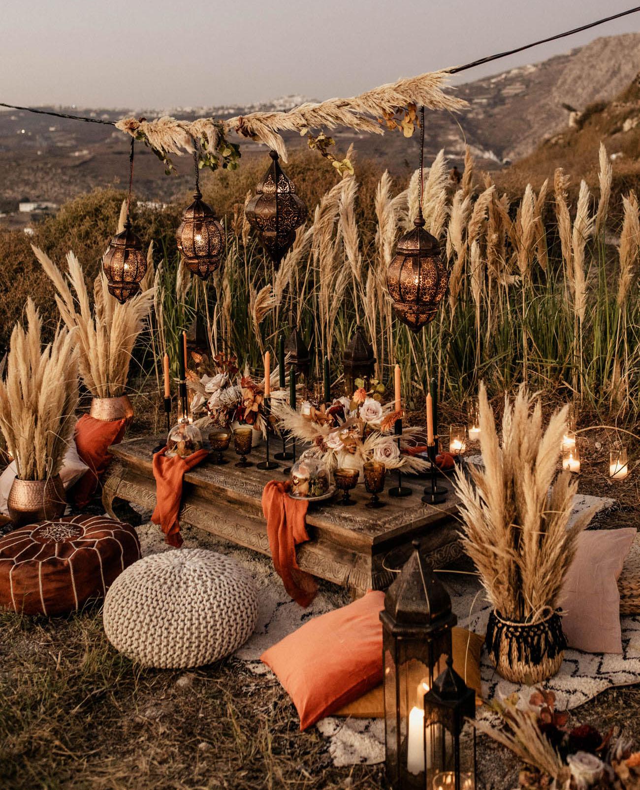 boho pampas grass tablescape