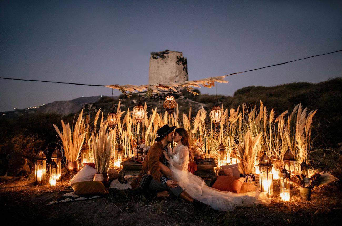 Rock Inspired Santorini Elopement