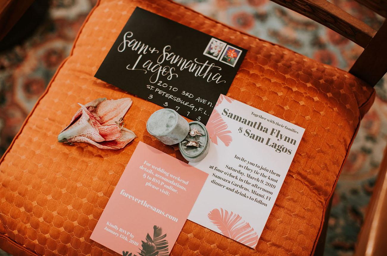 pink palm invitation