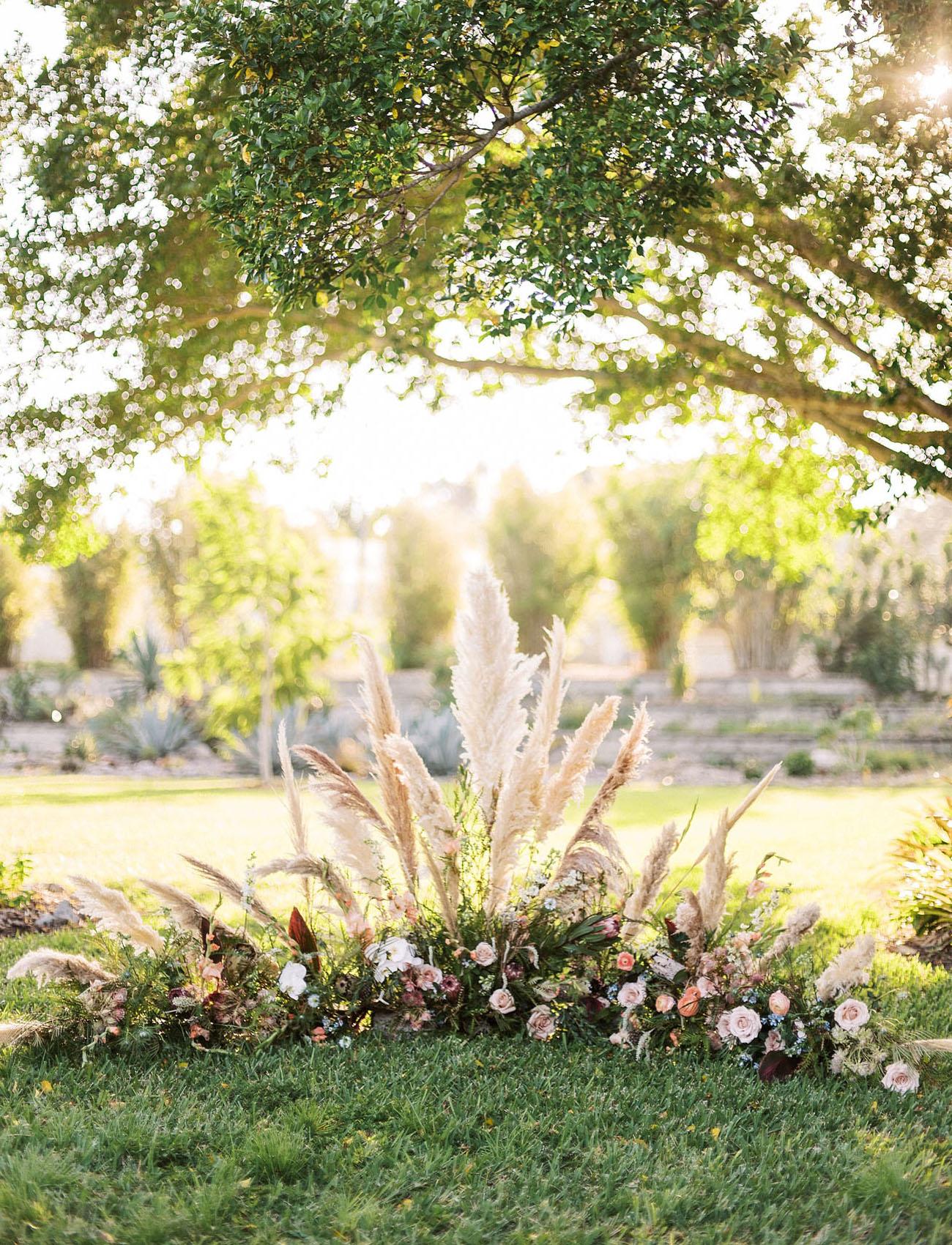 pampas grass ceremony florals