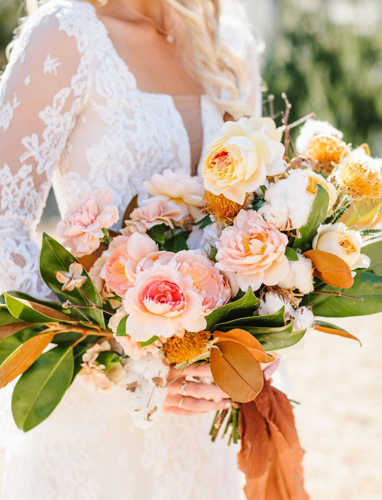pink rose magnolia bouquet