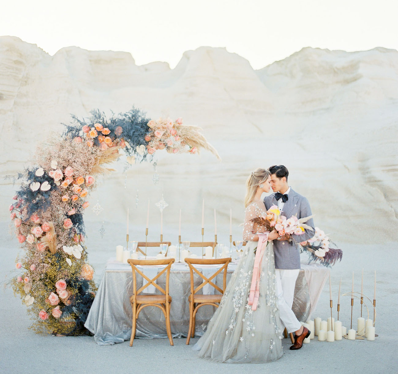 Romance + Whimsy Meets Celestial Elopement Inspiration in Milos, Greece