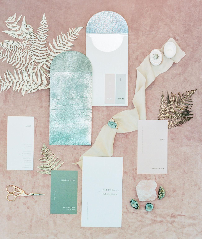 mint colored invitation suite