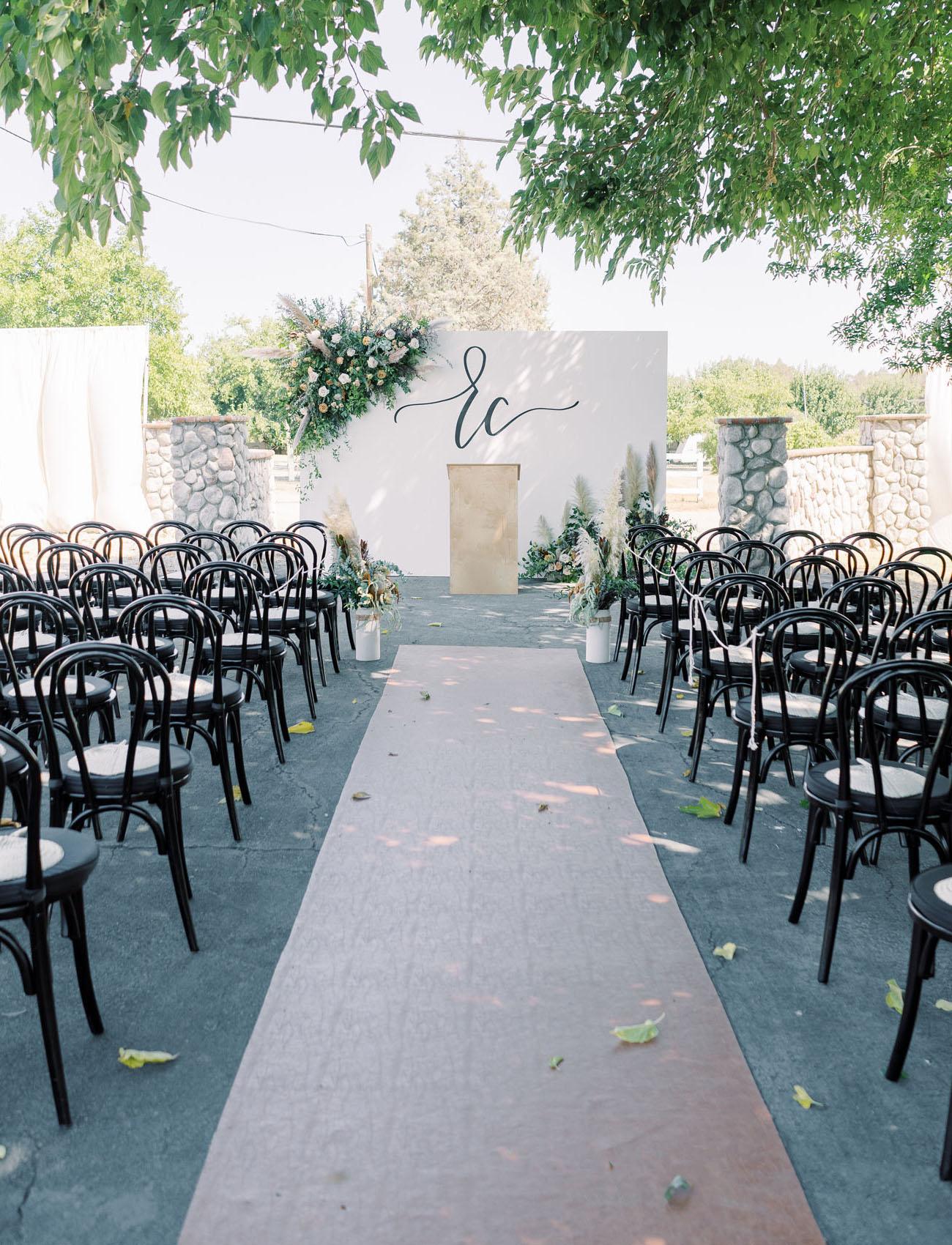 initials ceremony backdrop