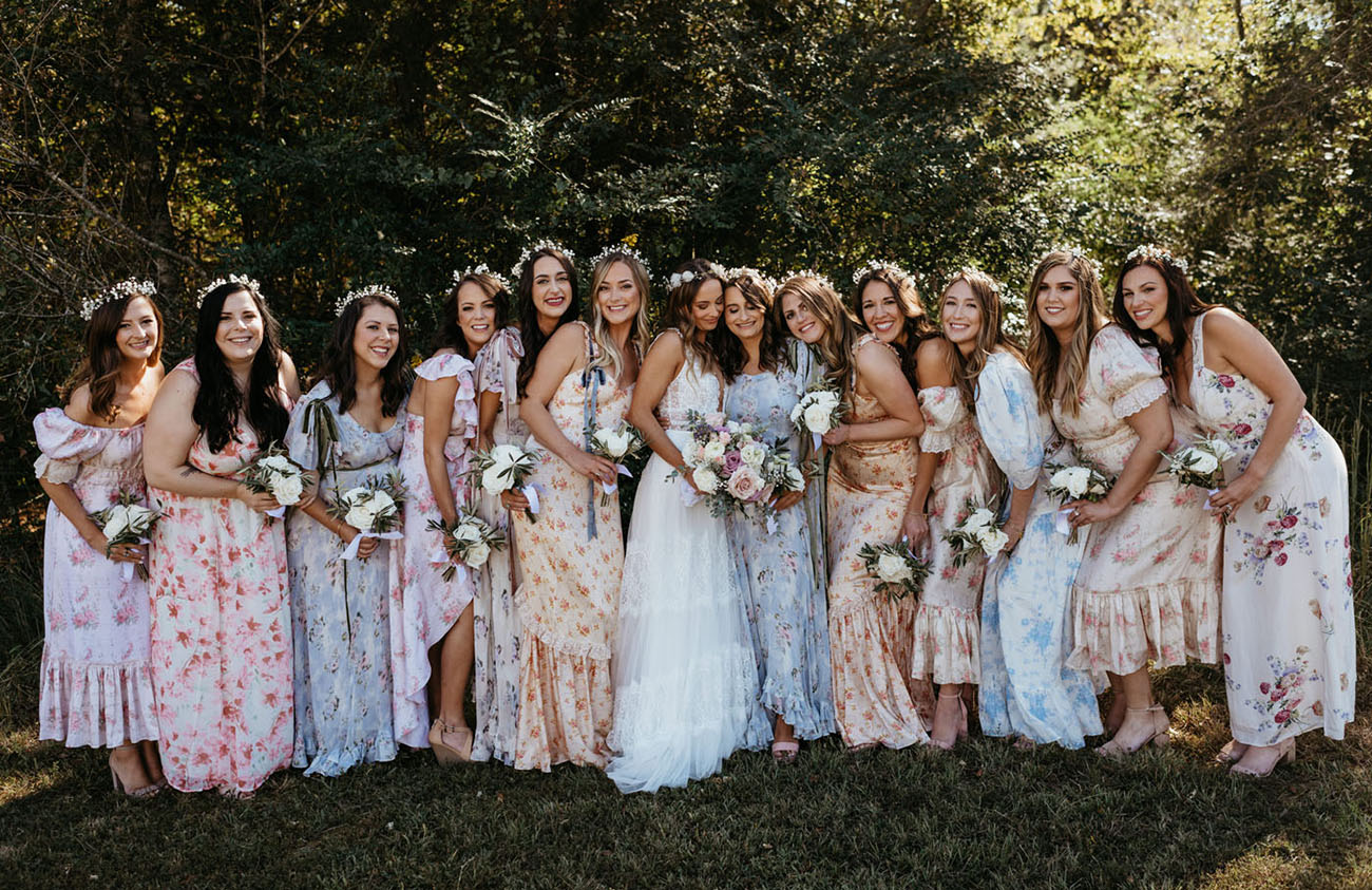 A Hippy Chic Garden Wedding Inspired by Fab Floral Bridesmaids Dresses