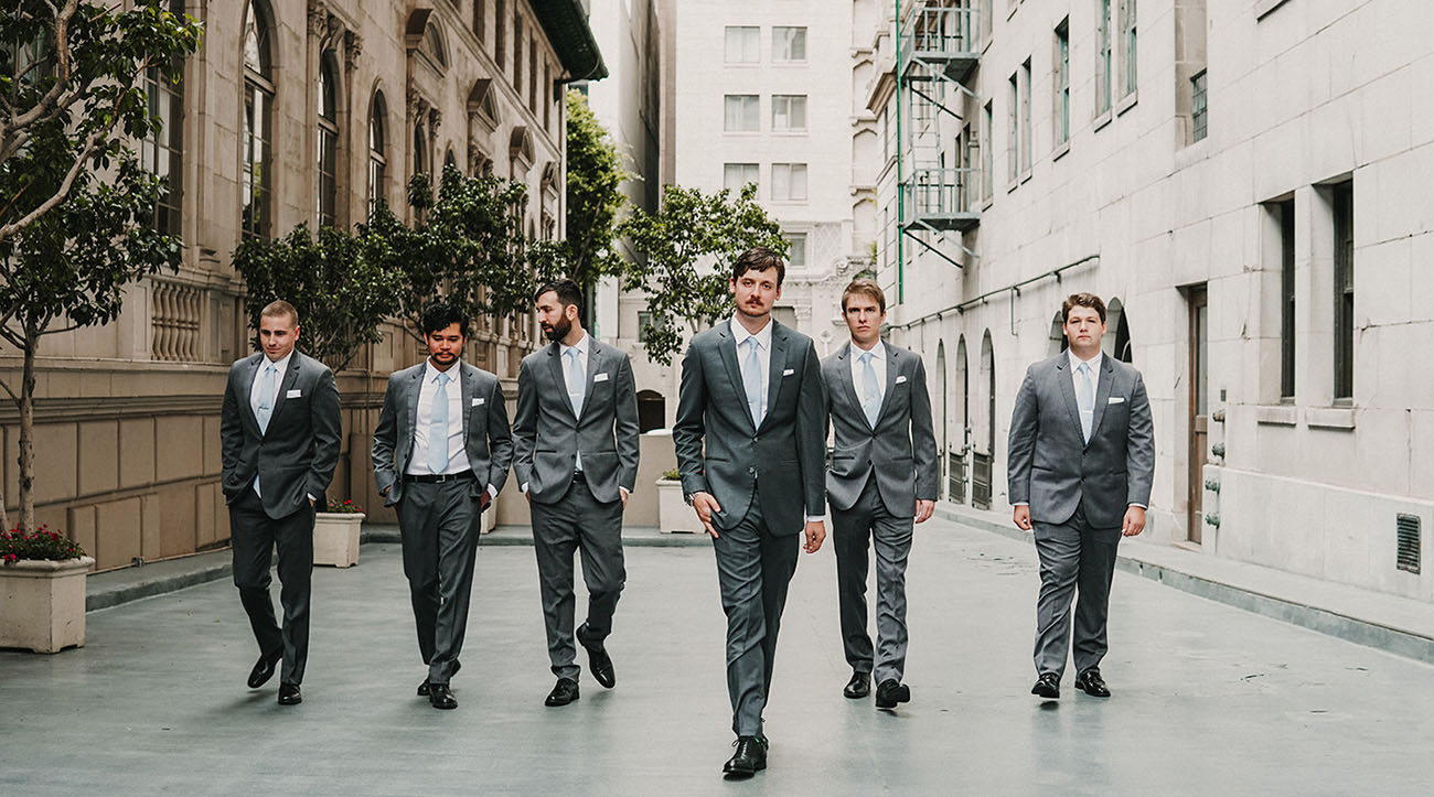 gray suit groomsmen