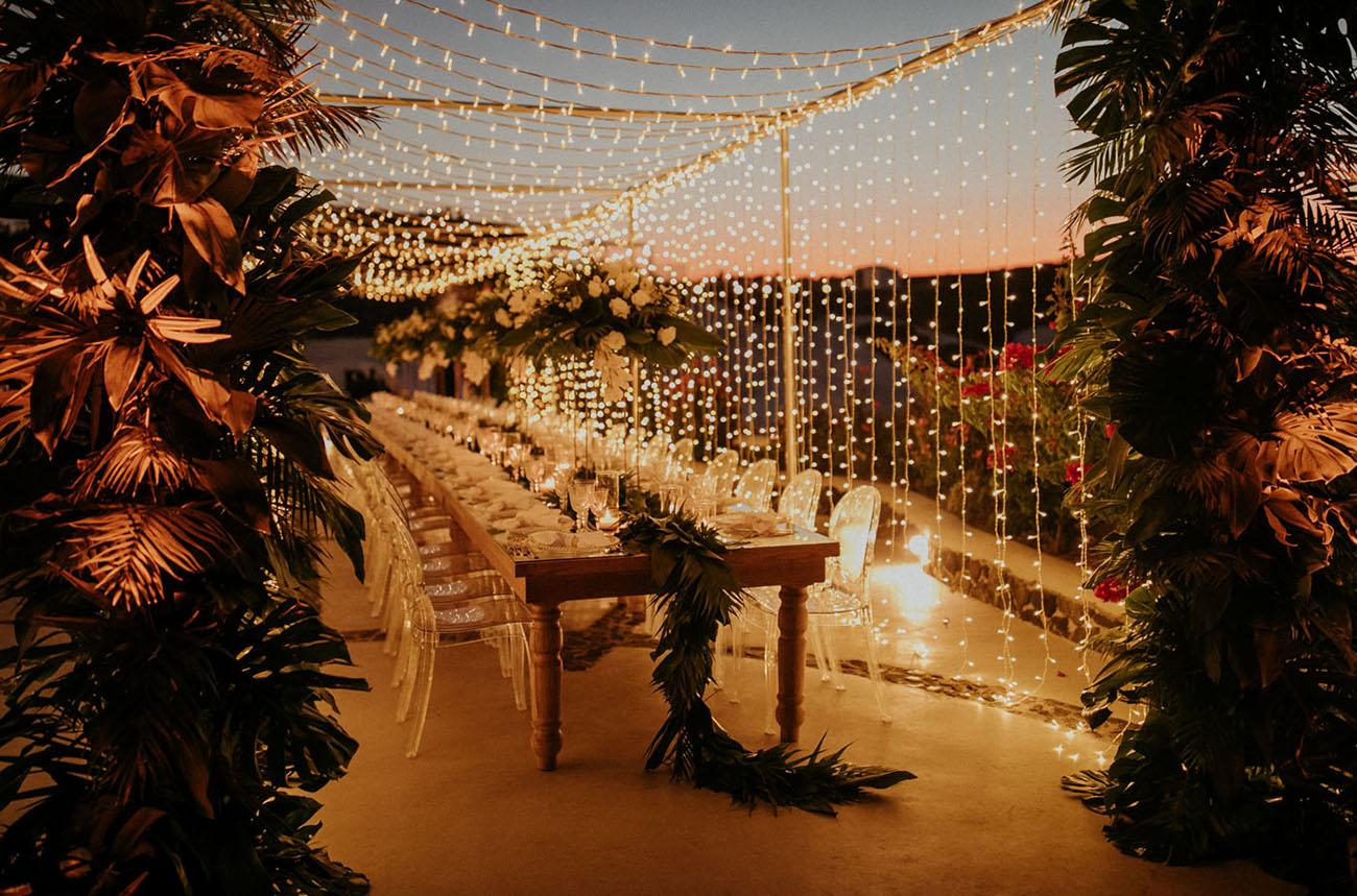 Fairy Light Santorini Wedding