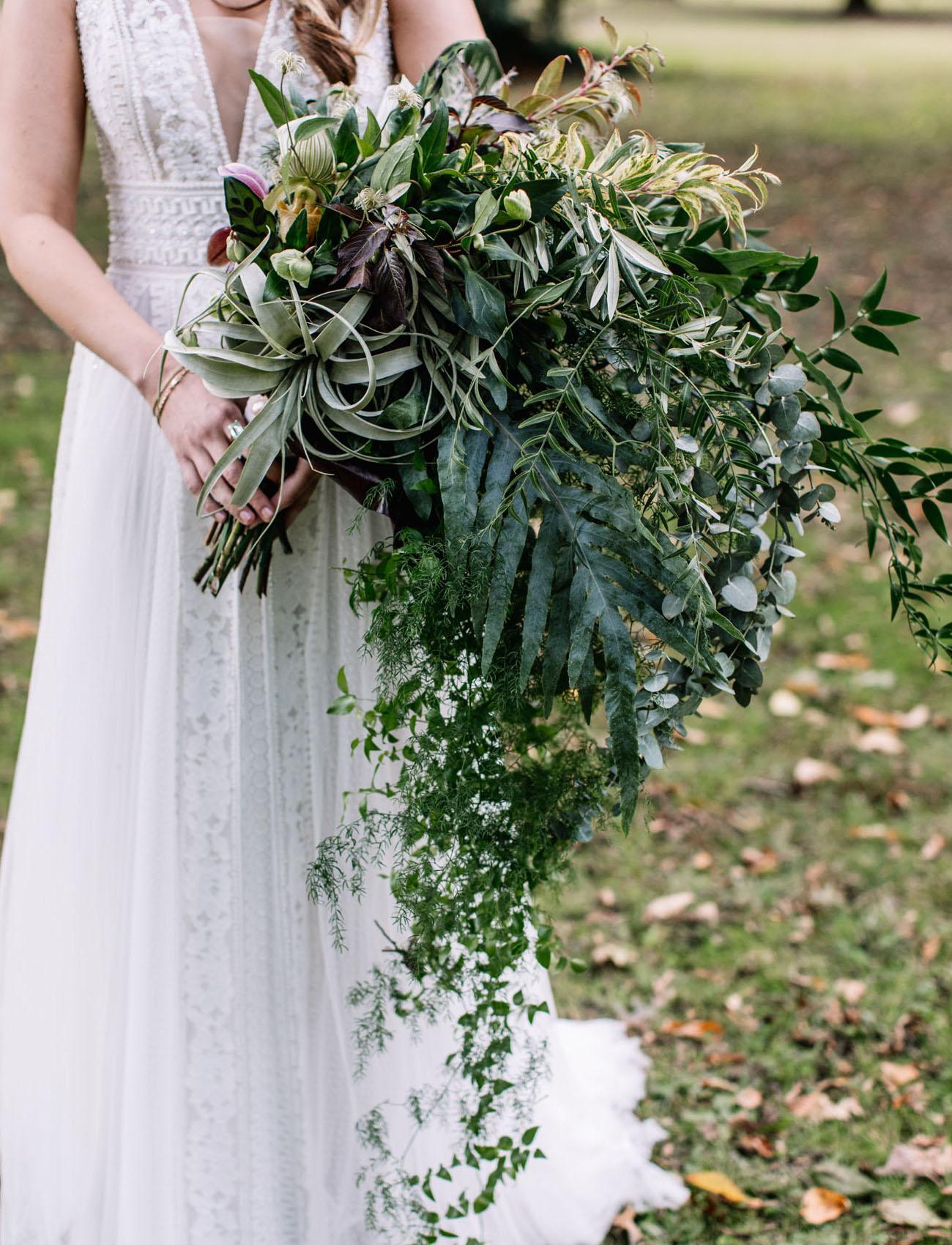 cascading green bouquet