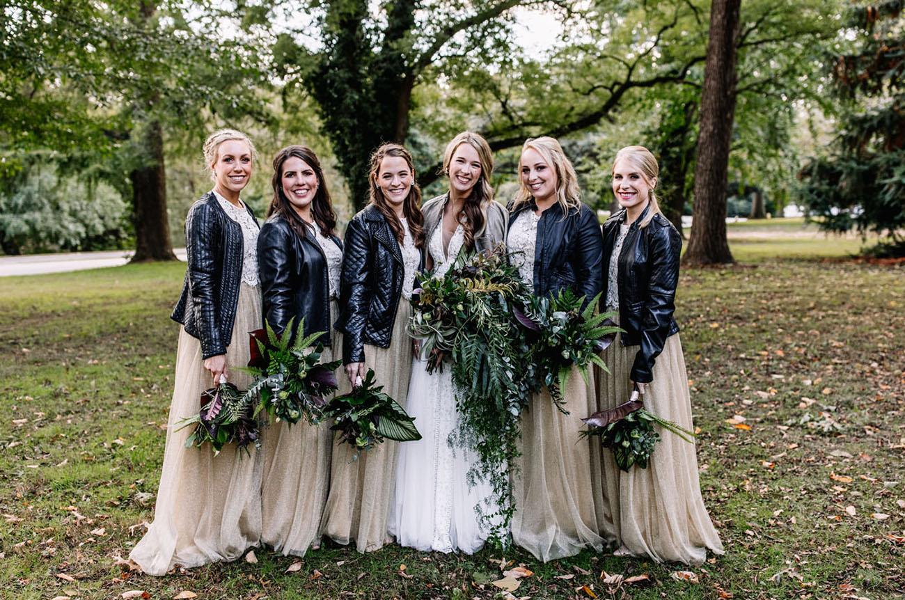 leather jacket bridesmaids