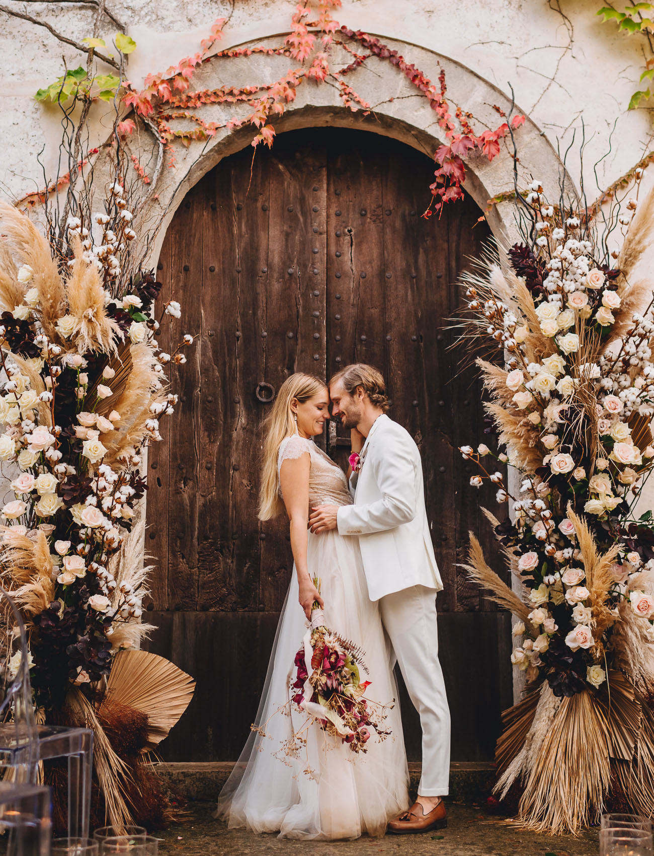 dried floral ceremony backdrop