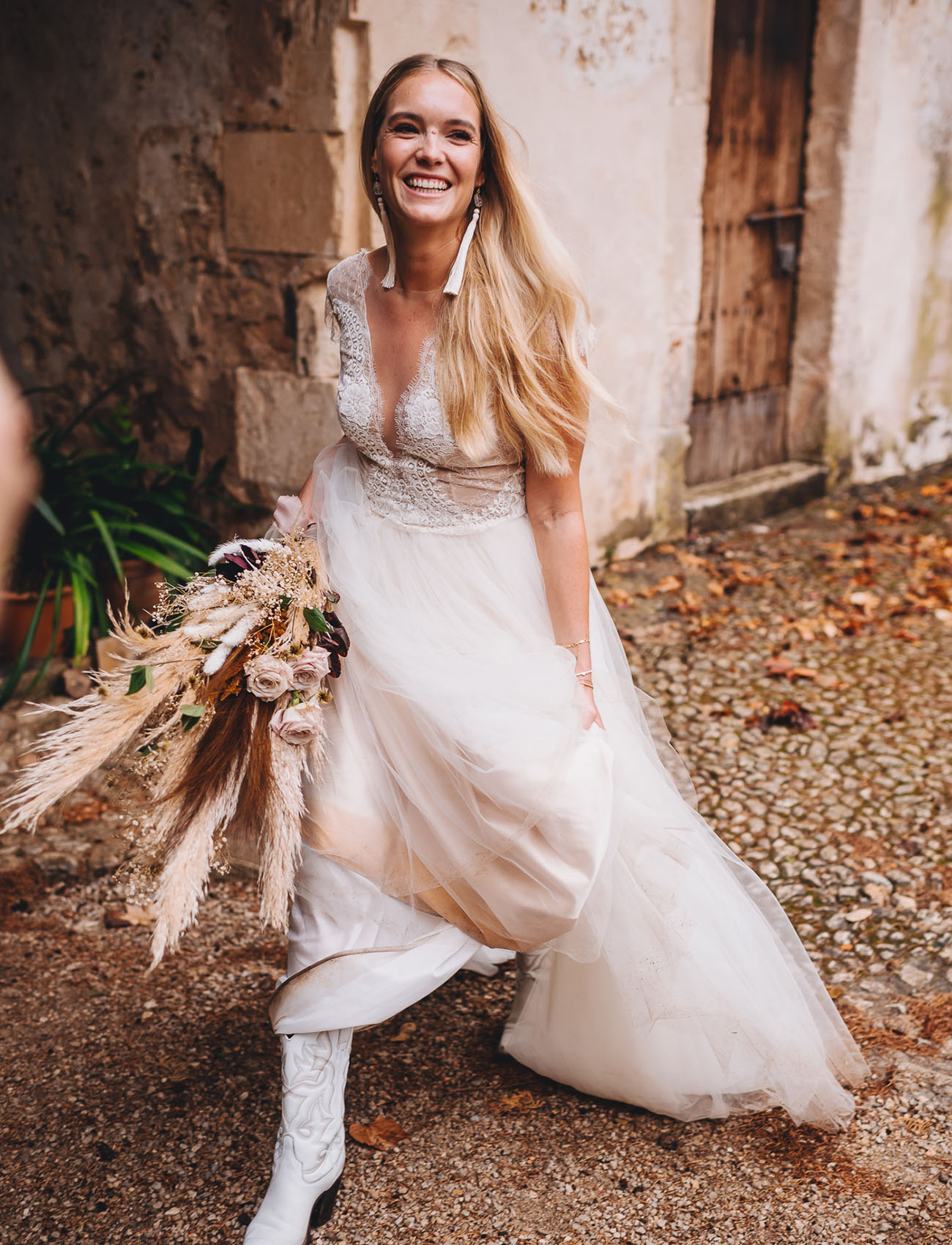 white cowgirl boots bride