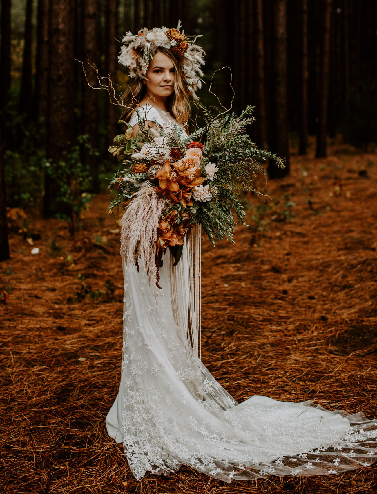 boho flower crown bride