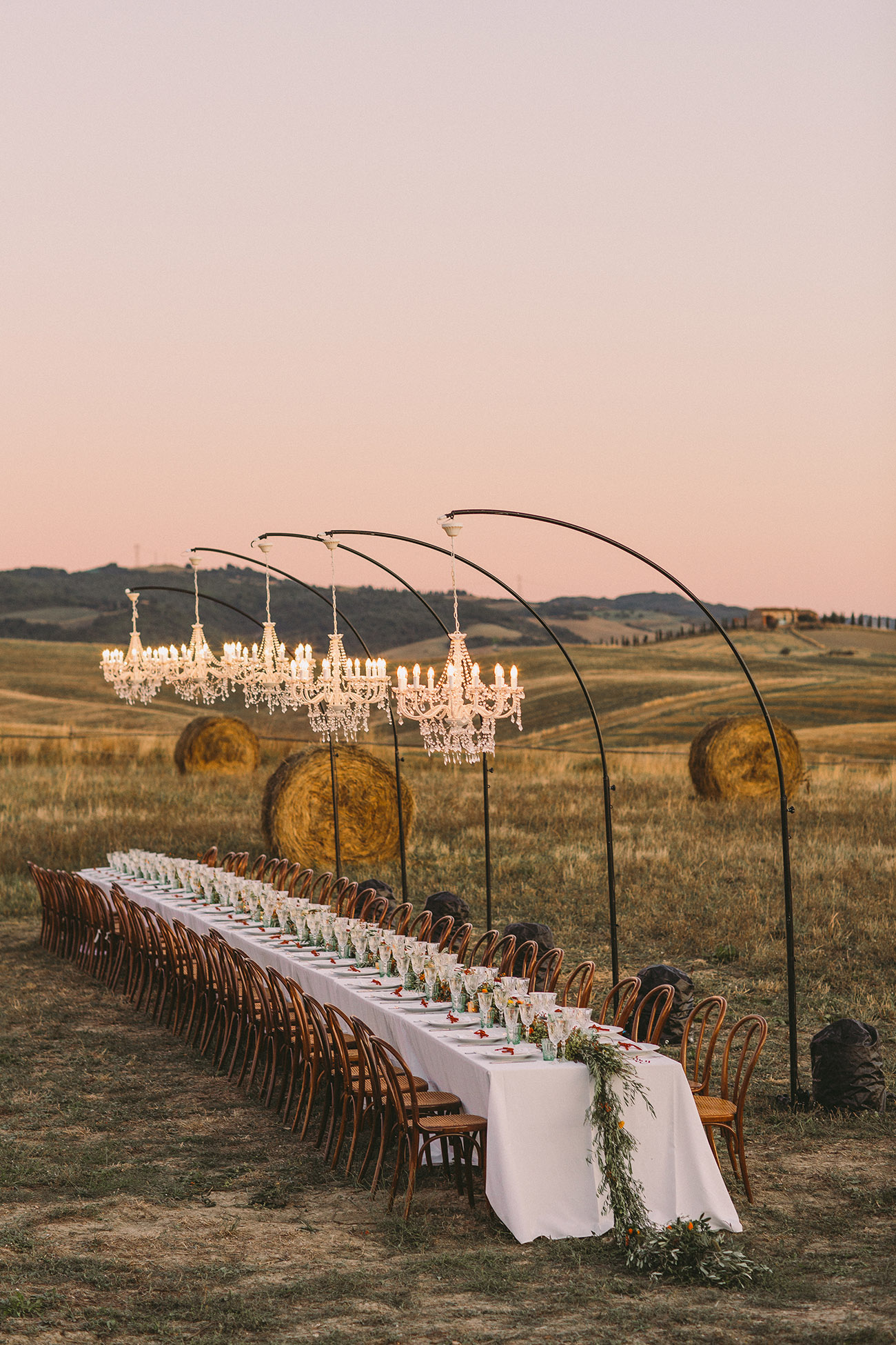 Table with Chandeliers in the Italian Countryside