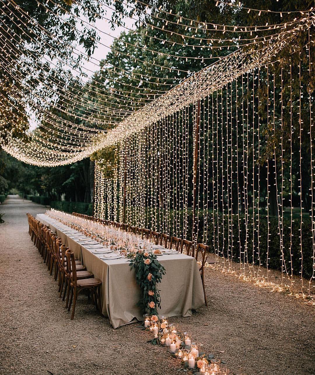 twinkle light curtain wedding