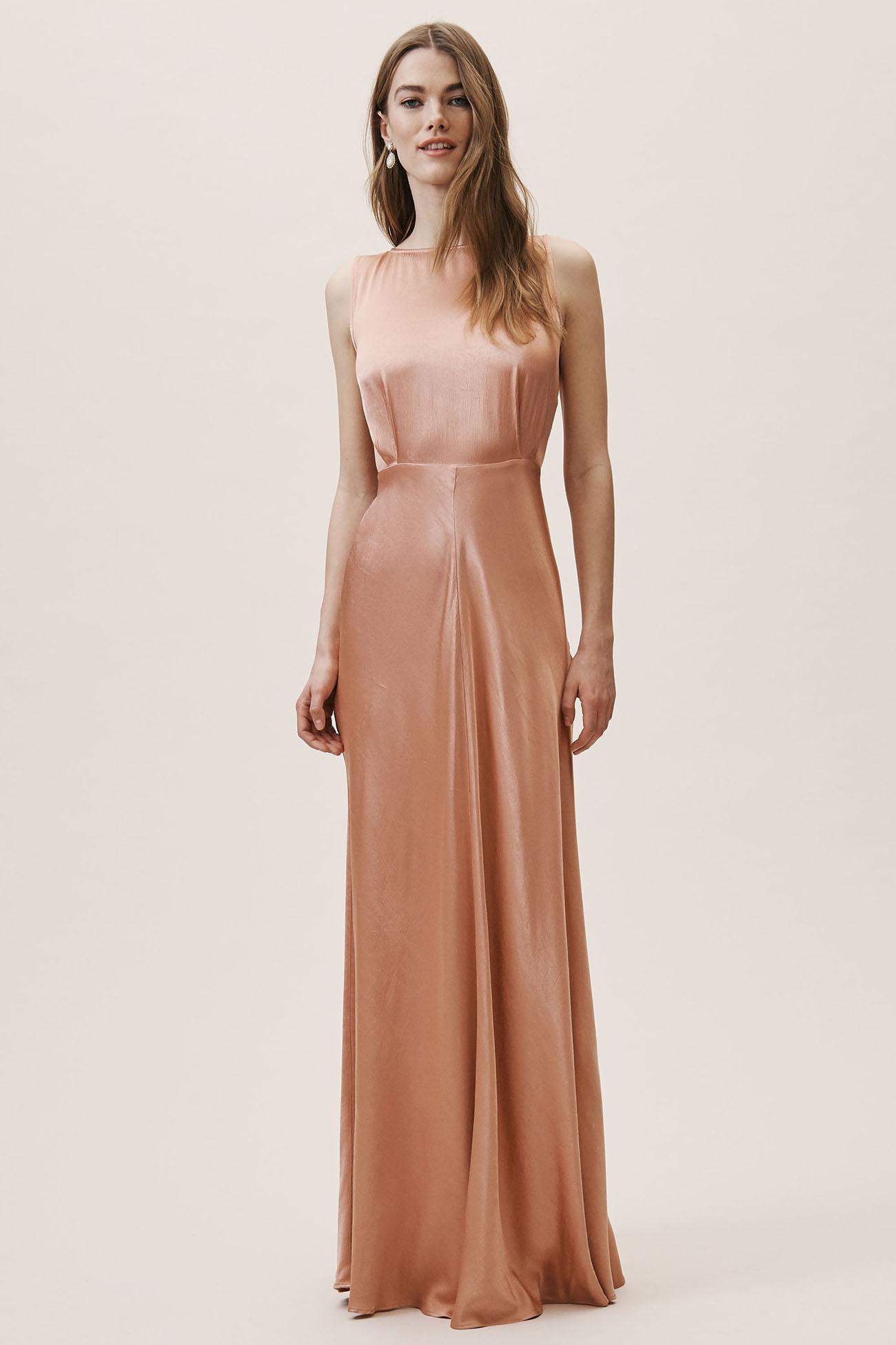 Peach Satin Bridesmaid Dress