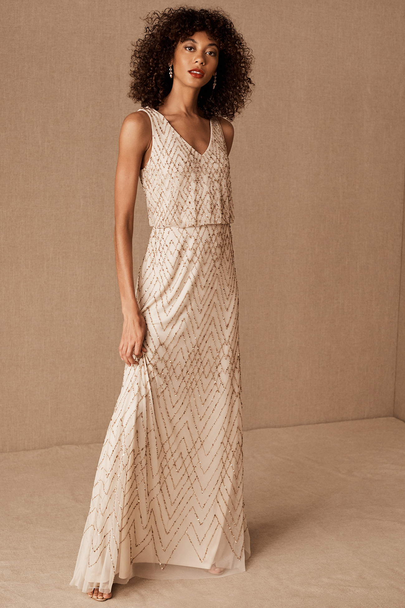 Champagne Sequined Bridesmaid Dress