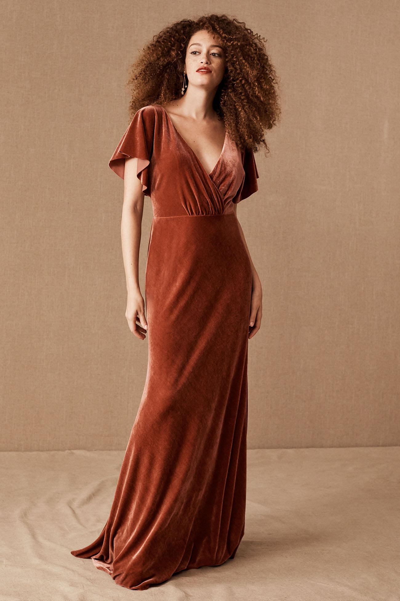 Rust Velvet Bridesmaid Dress