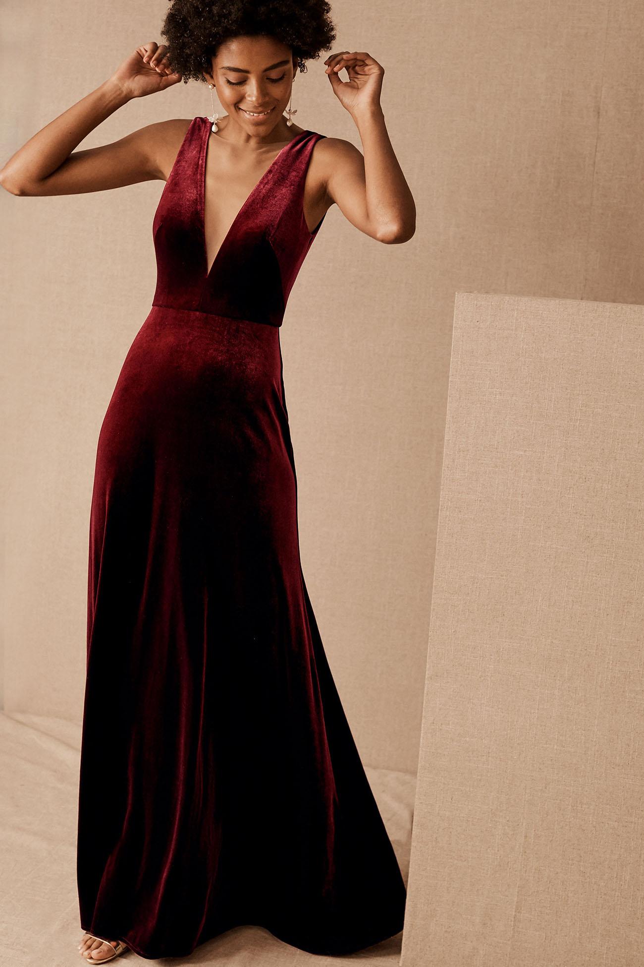 Burgundy Velvet Bridesmaid Dress