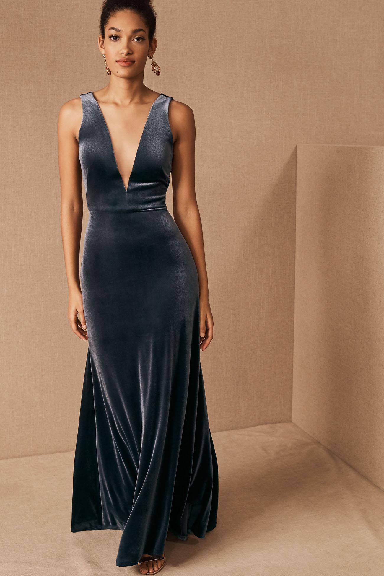 Grey Deep V Bridesmaid Dress