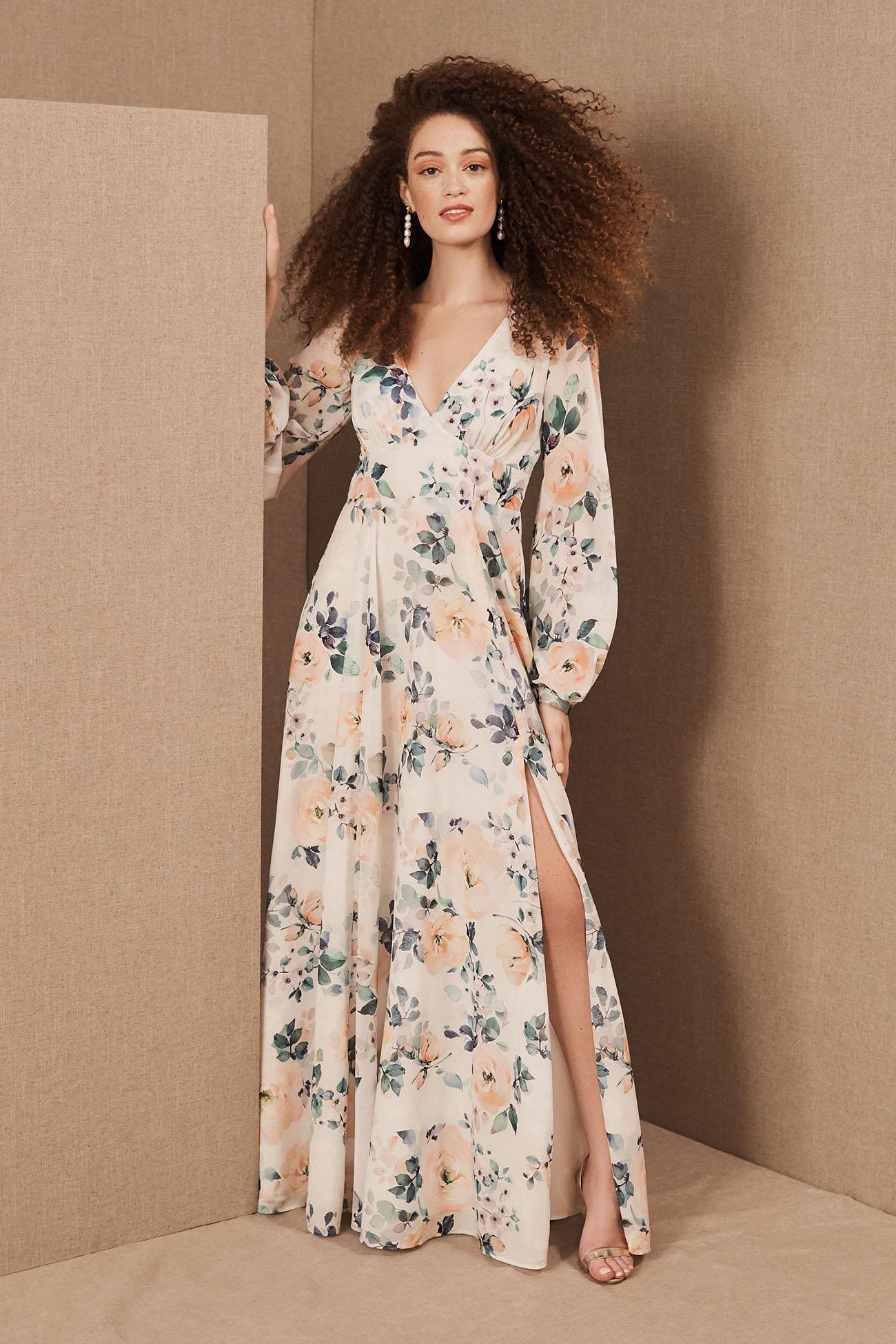 Long Sleeve Floral Bridesmaid Dress