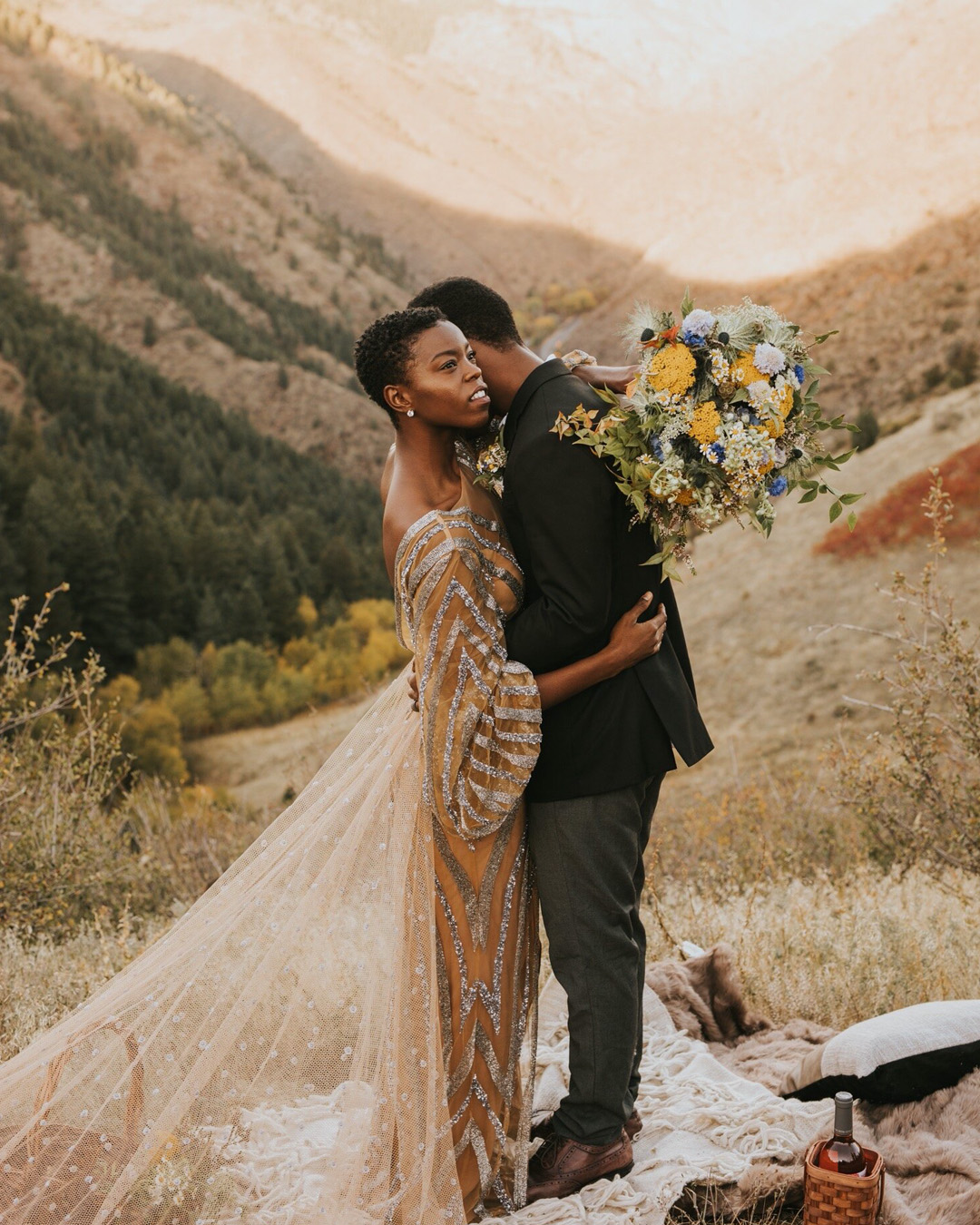 adventure elopement with sparkly dress