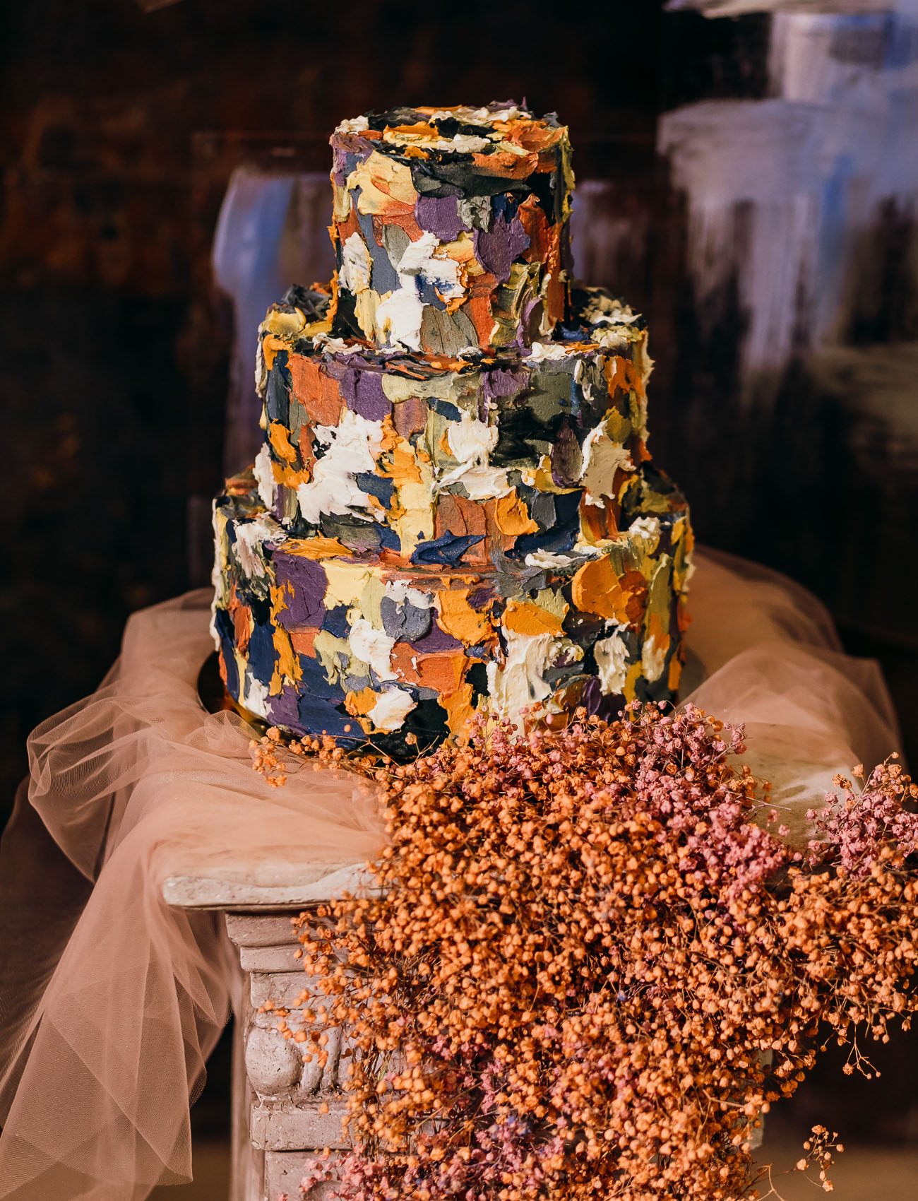 painterly wedding cake