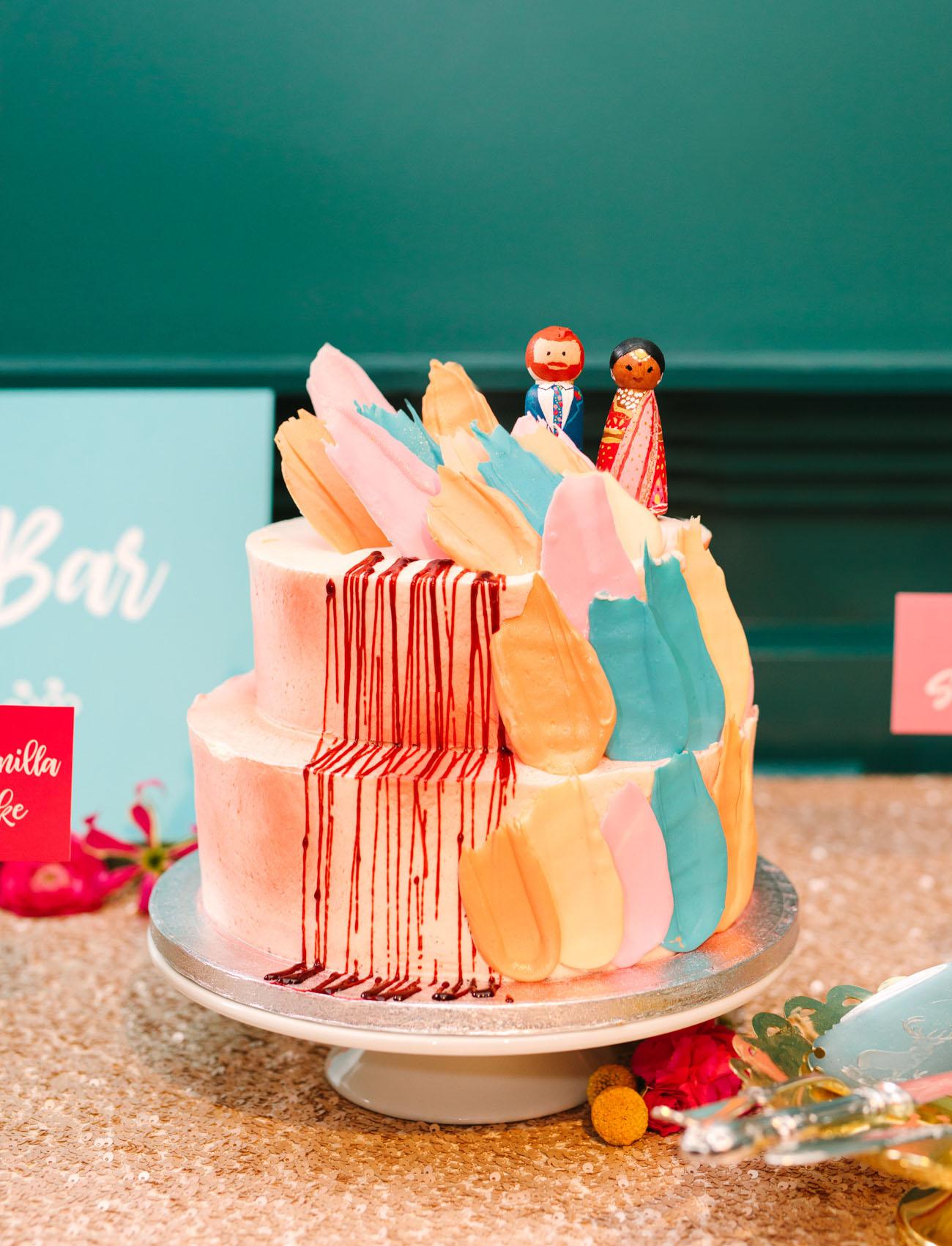 painterly 3d wedding cake