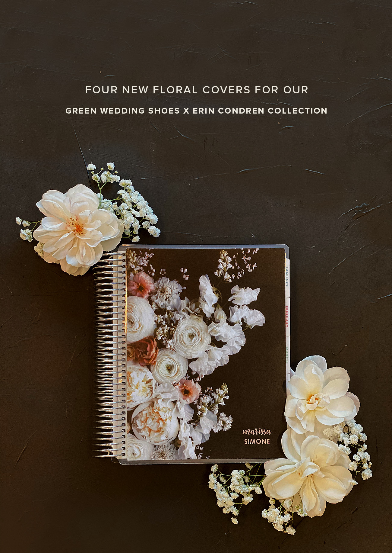 floral life planner covers green wedding shoes x erin condren