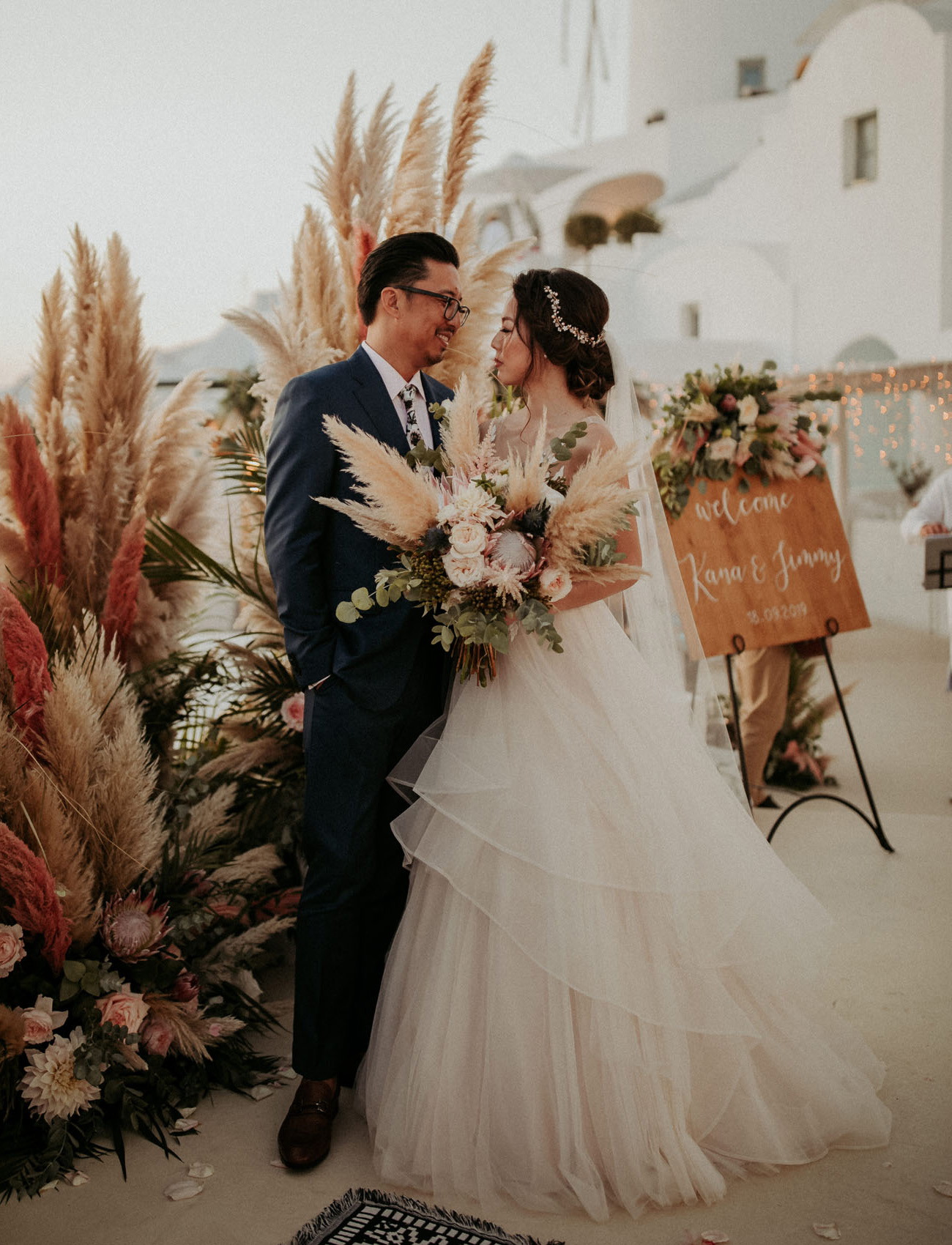 Santorini Wedding with Pink Pampas Grass Plumes + Magical Moments