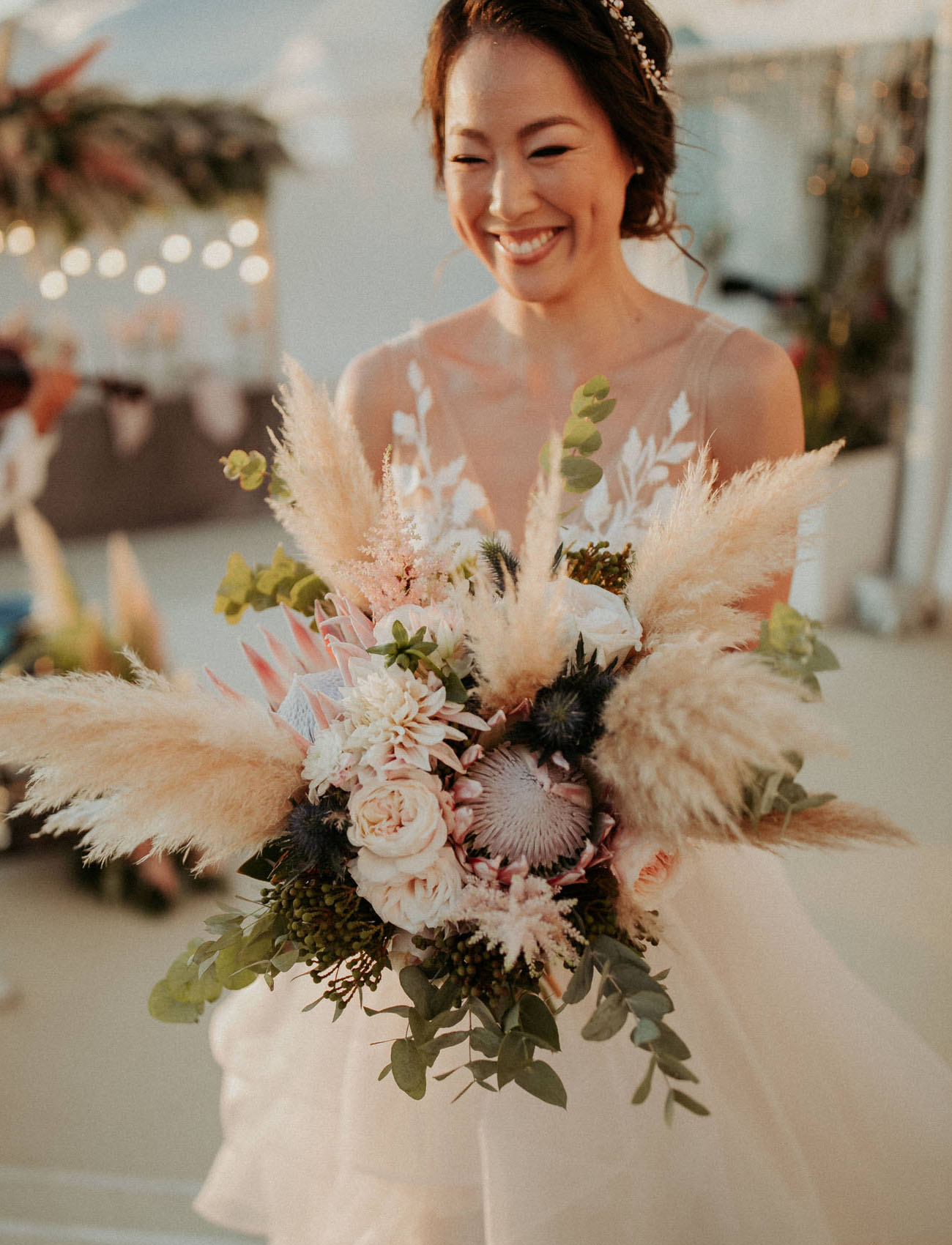 pampas grass protea bouquet