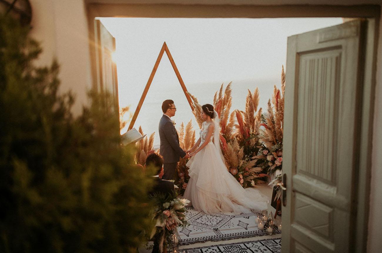 Luxury Boho Santorini Elopement
