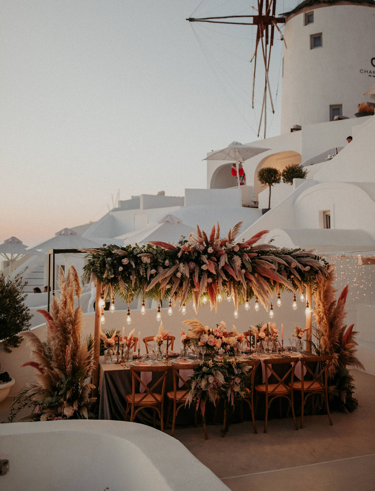 Luxury Boho Santorini Elopement