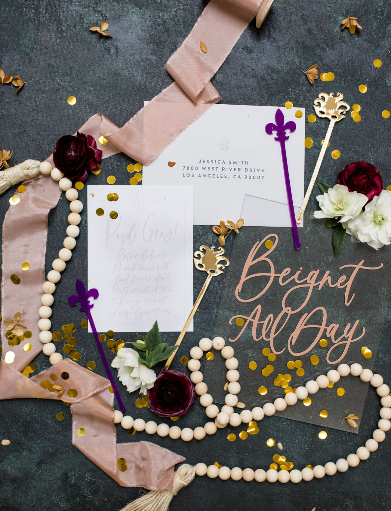 mardi gras inspired invitation