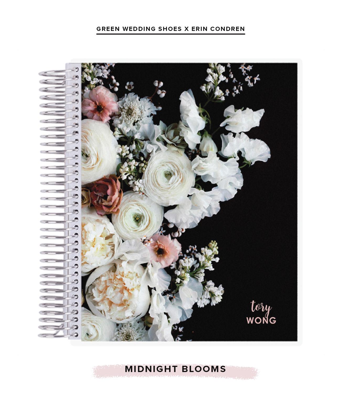 midnight blooms notebook green wedding shoes x erin condren
