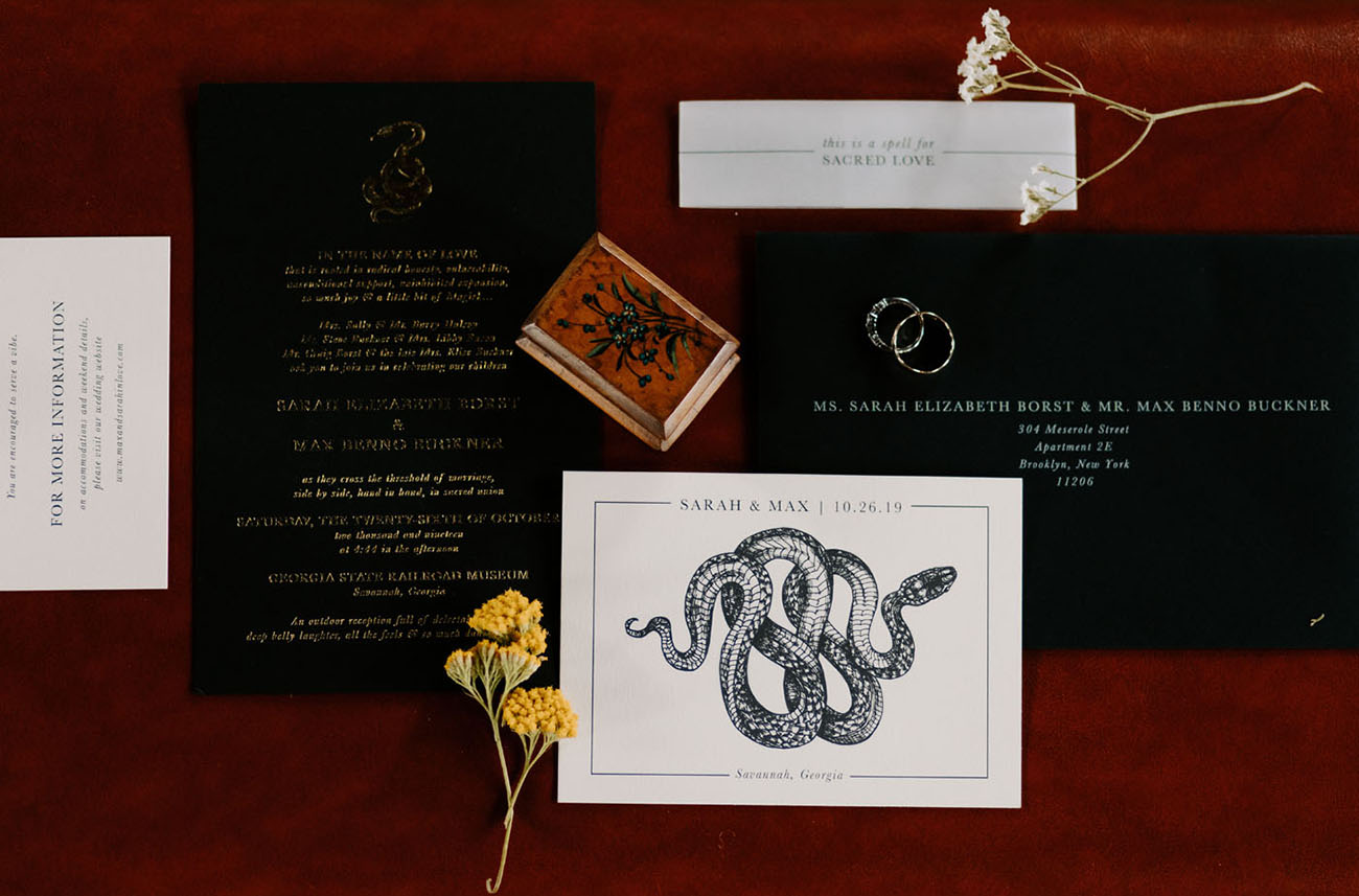 black wedding invitation