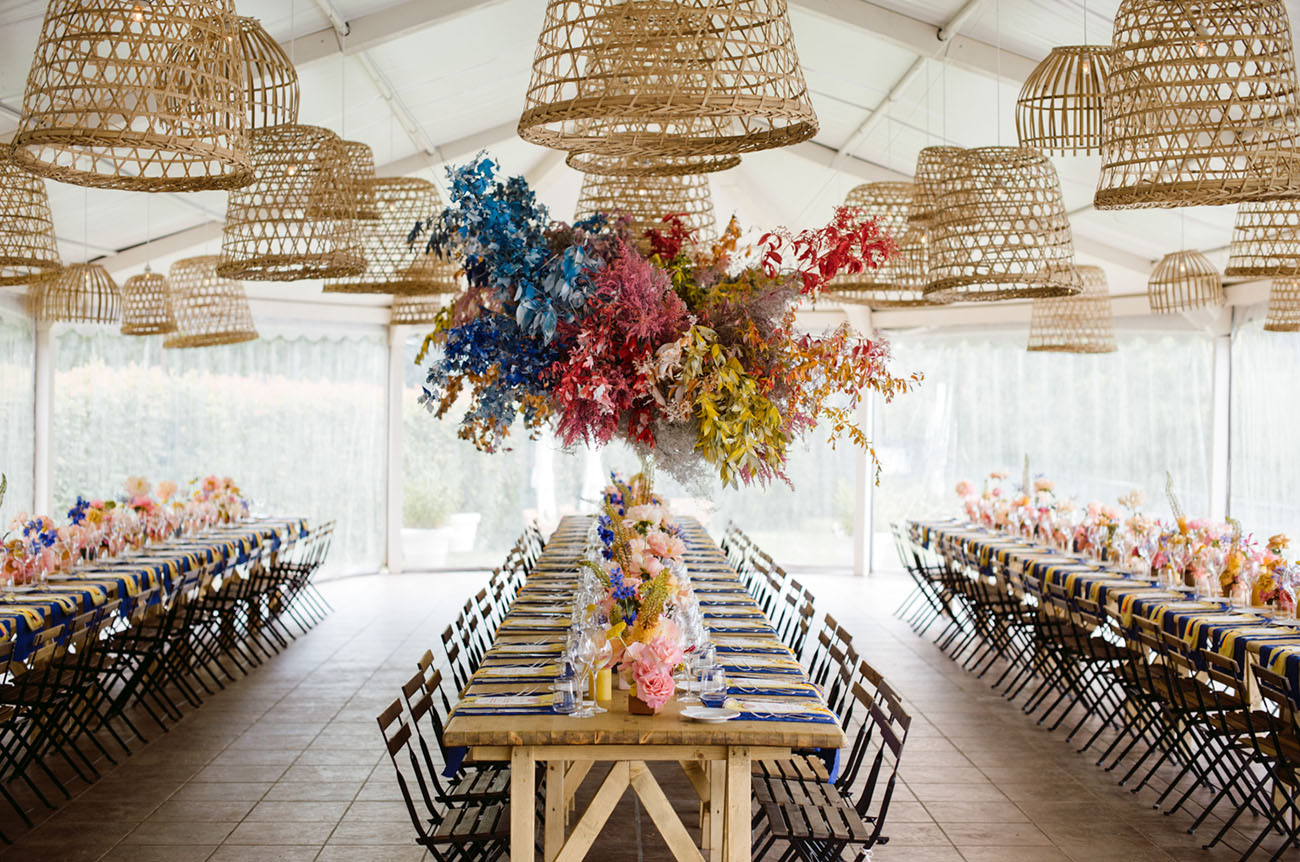 hanging rainbow floral installation