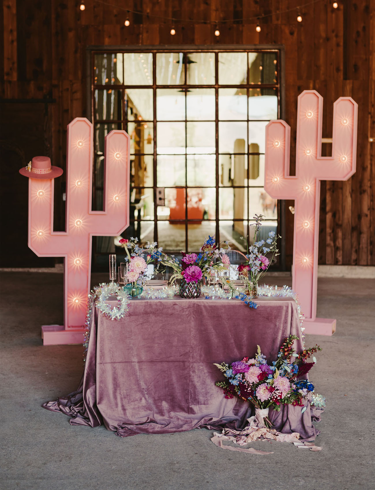 pink cactus marquee backdrop