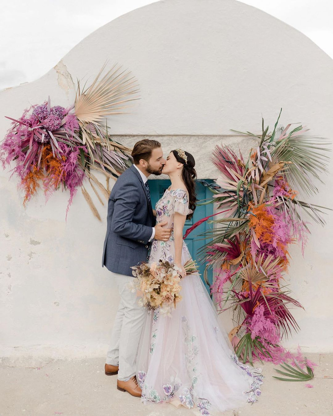 colorful Greece wedding