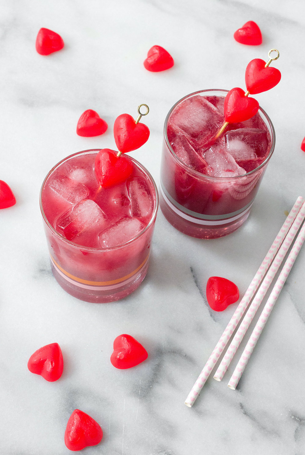 valentines cocktail blood orange mule with red hearts