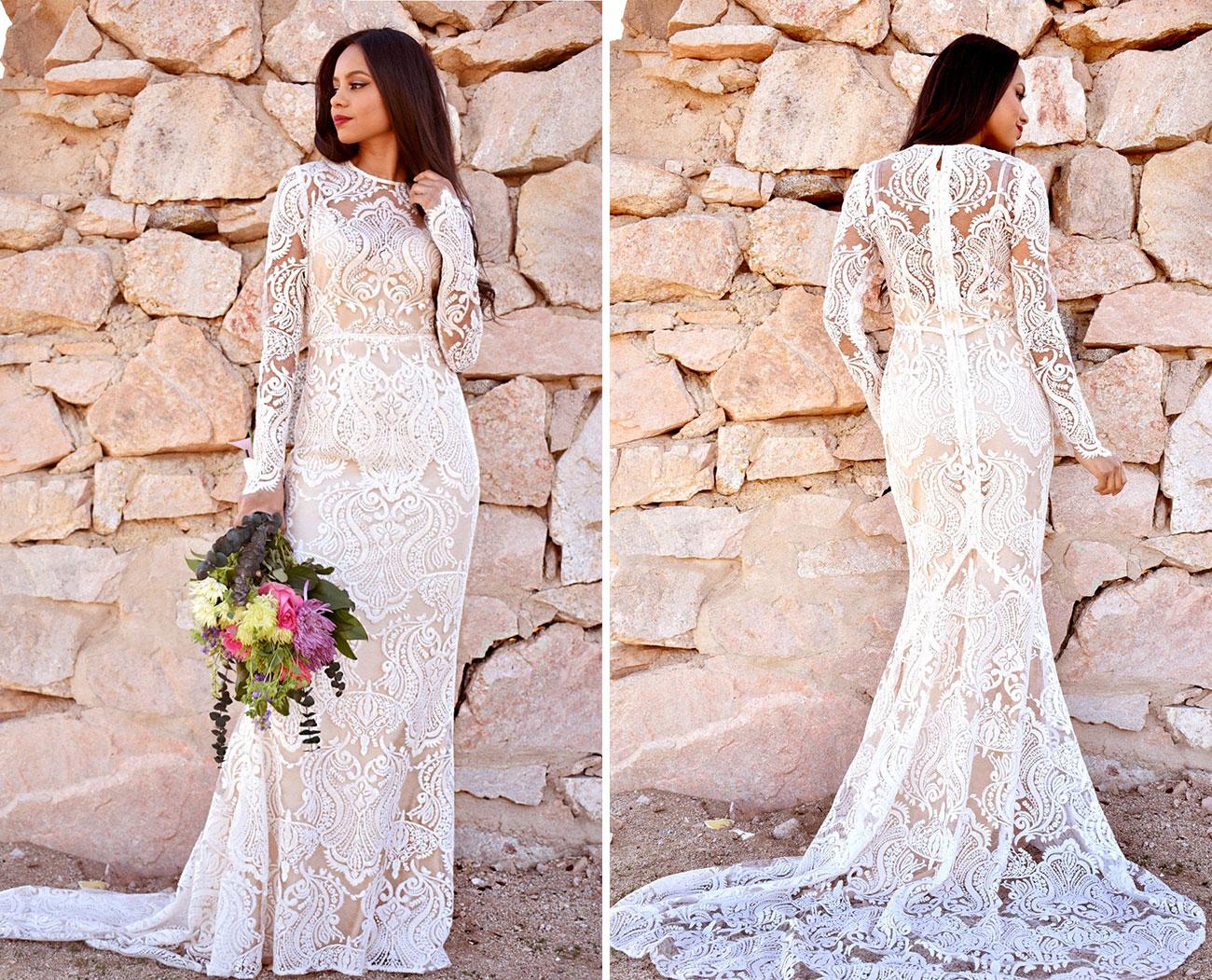 long sleeved boho Etsy wedding dress