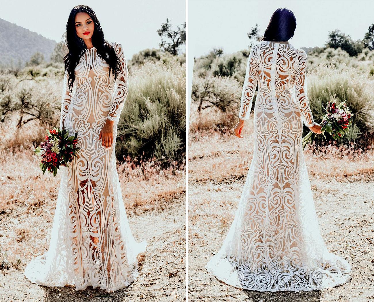 boho graphic lace Etsy wedding dress