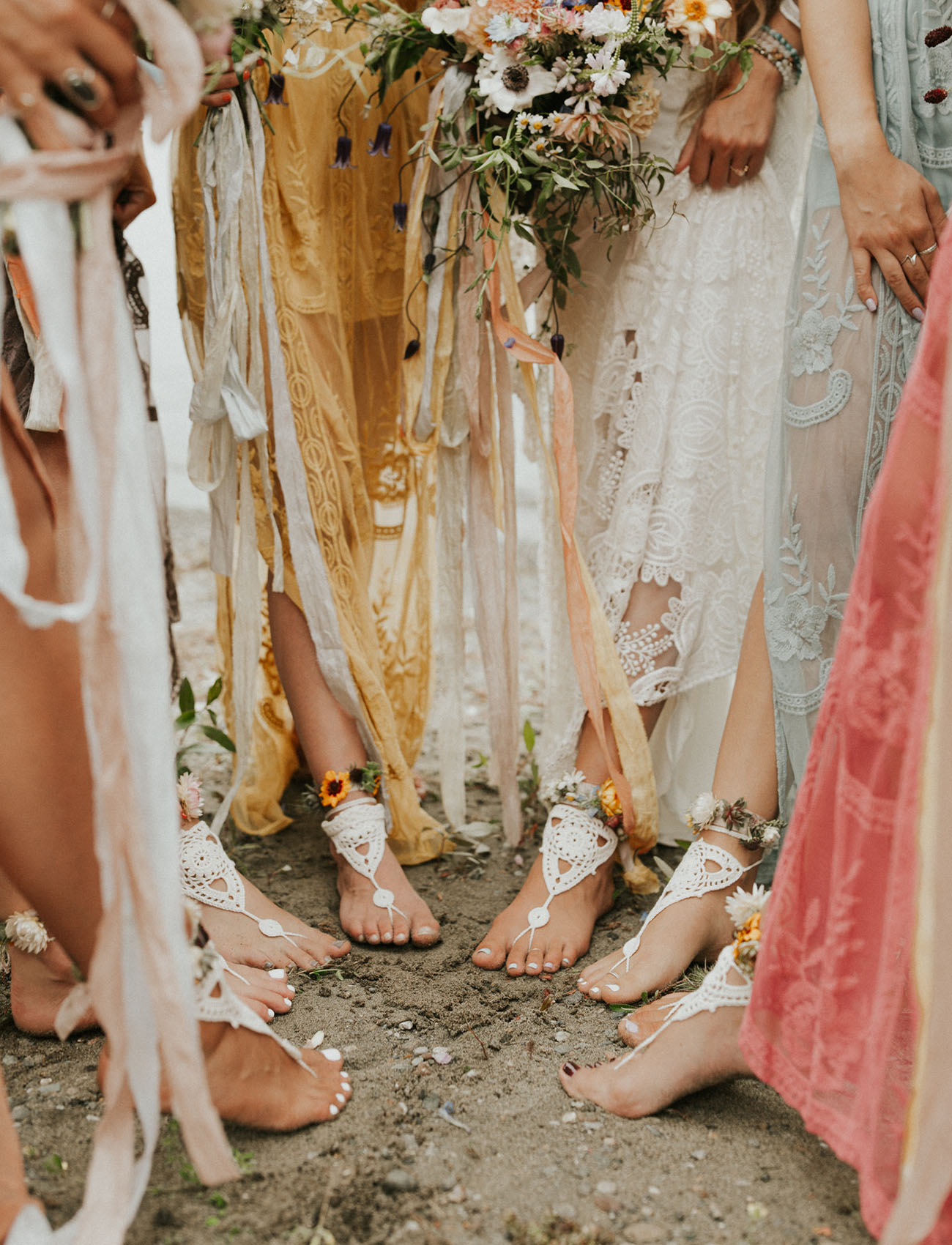 macrame feet jewelry