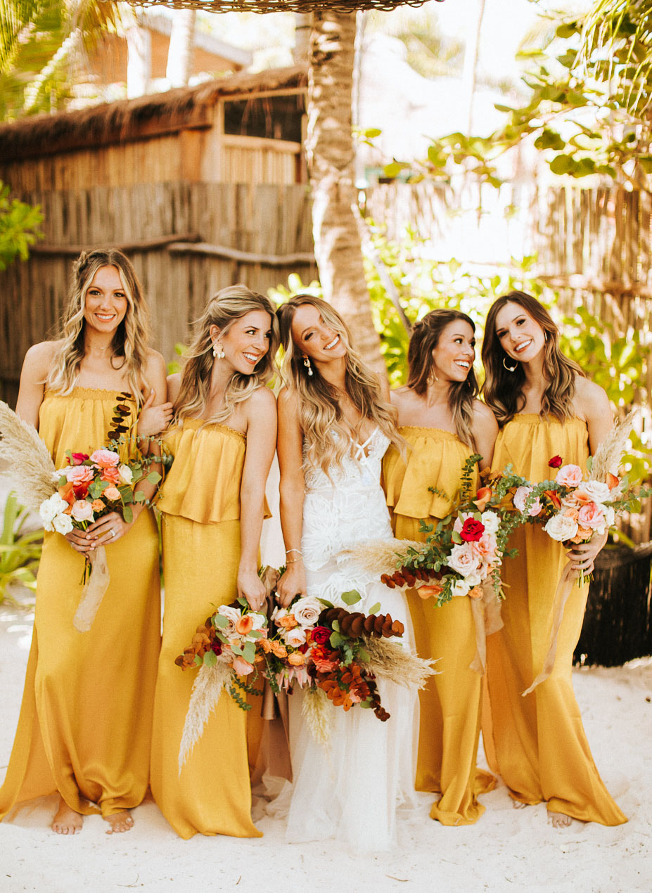 mustard bridesmaid dresses