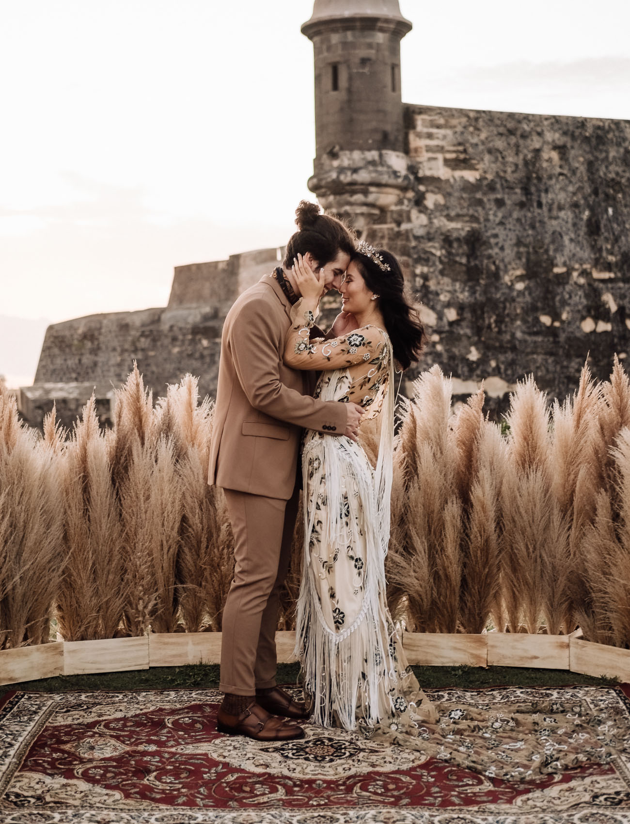 Bohemian Elopement in a Puerto Rican Castle + A Floral Fringe Dress