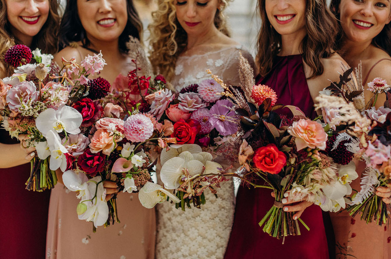 berry colored bridesmaid dresses