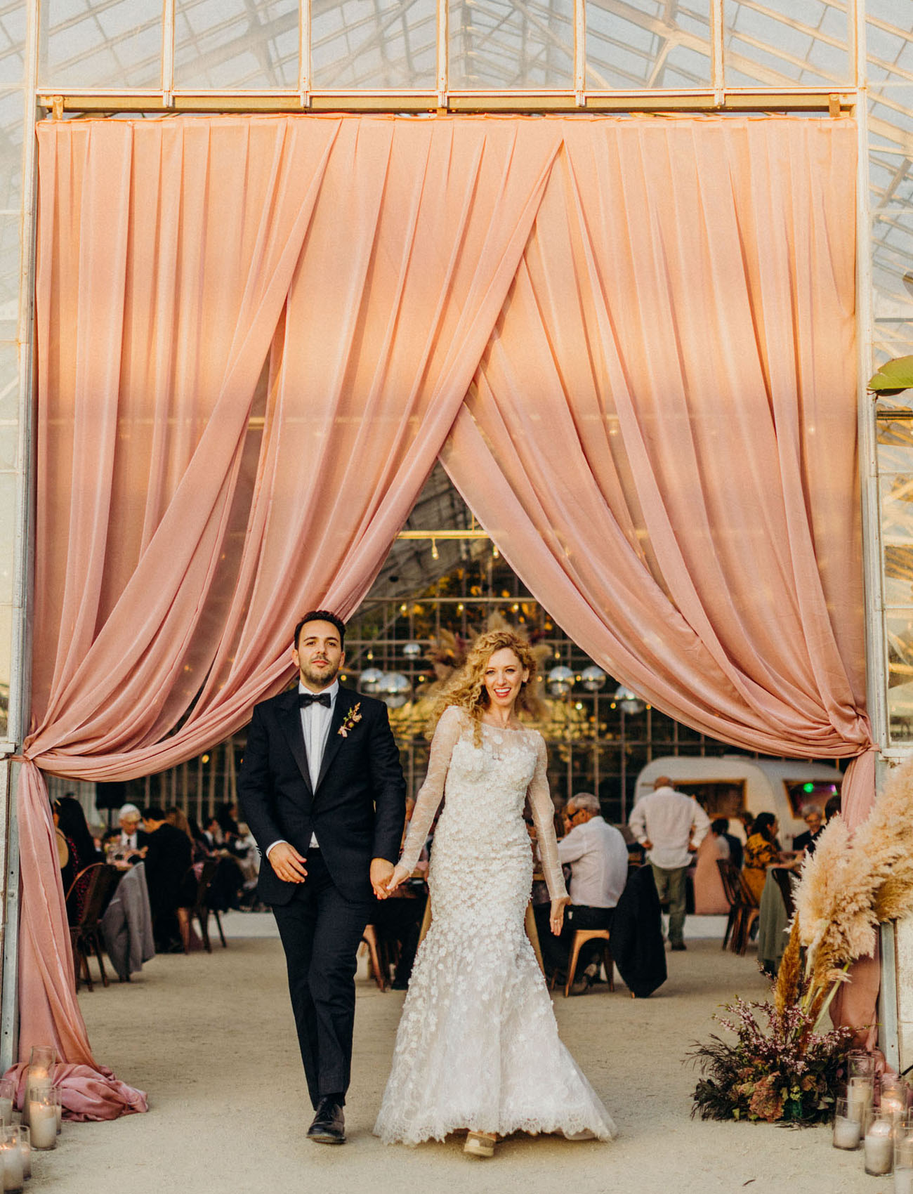 pink reception curtain