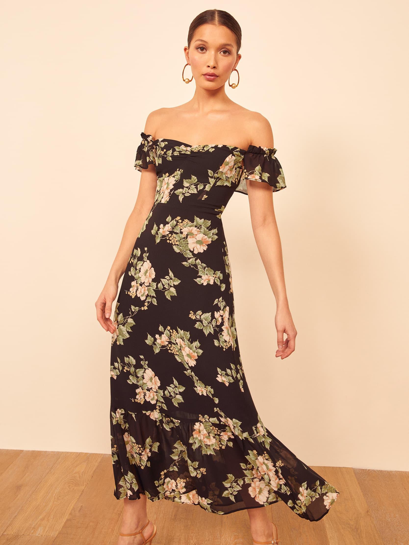 Dark Floral Off the Shoulder Dress