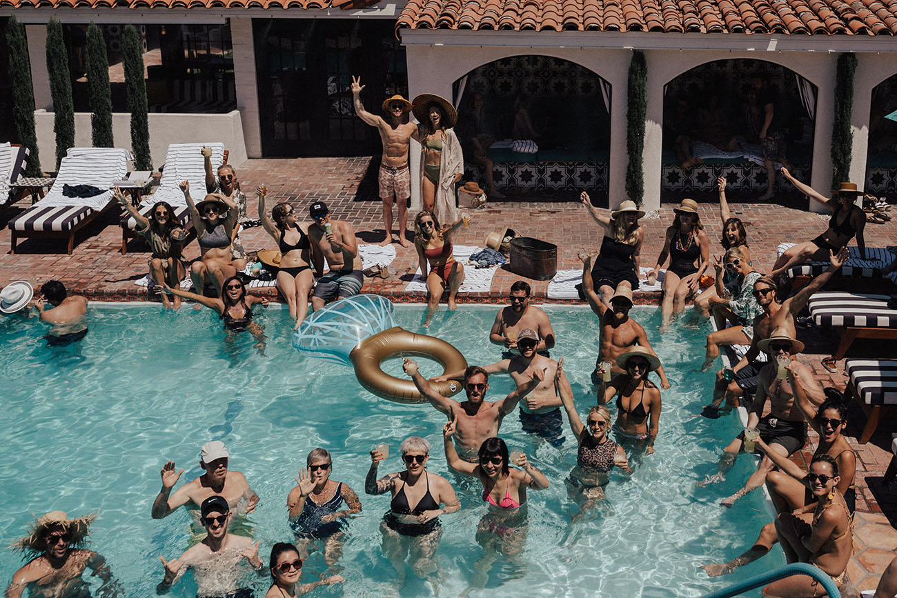 palm springs pool party wedding