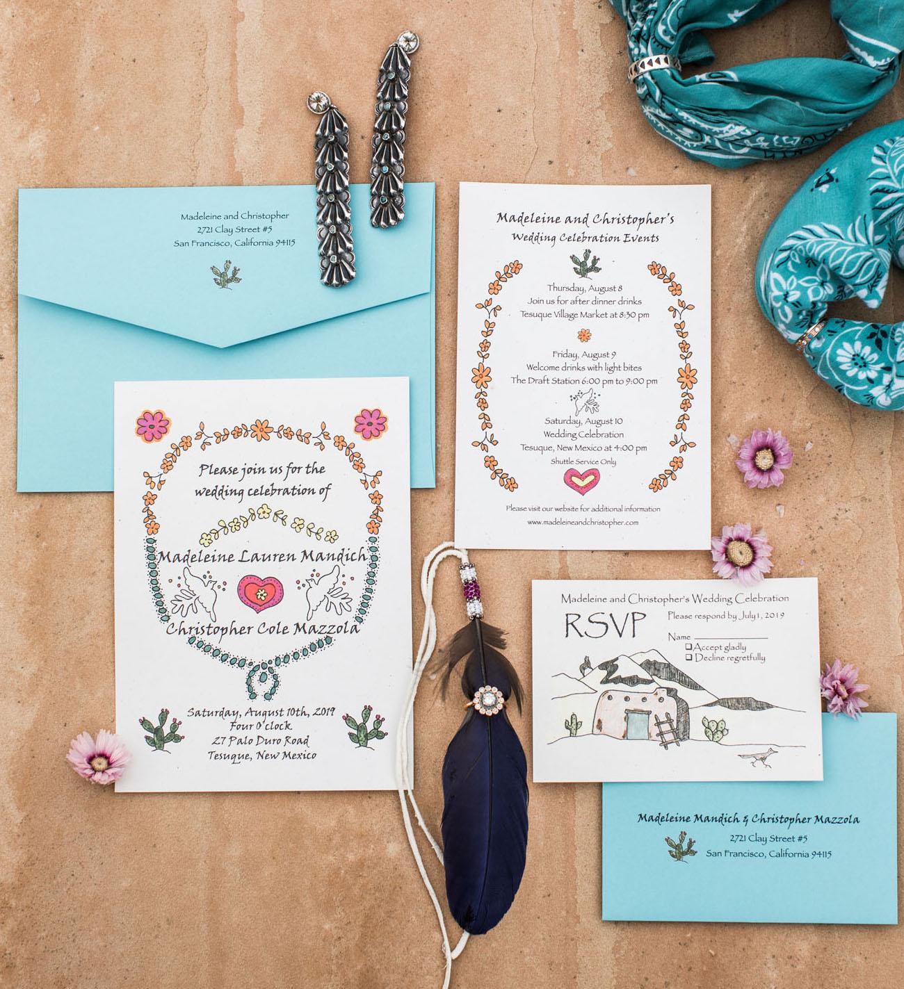 southwest inspired wedding invitation
