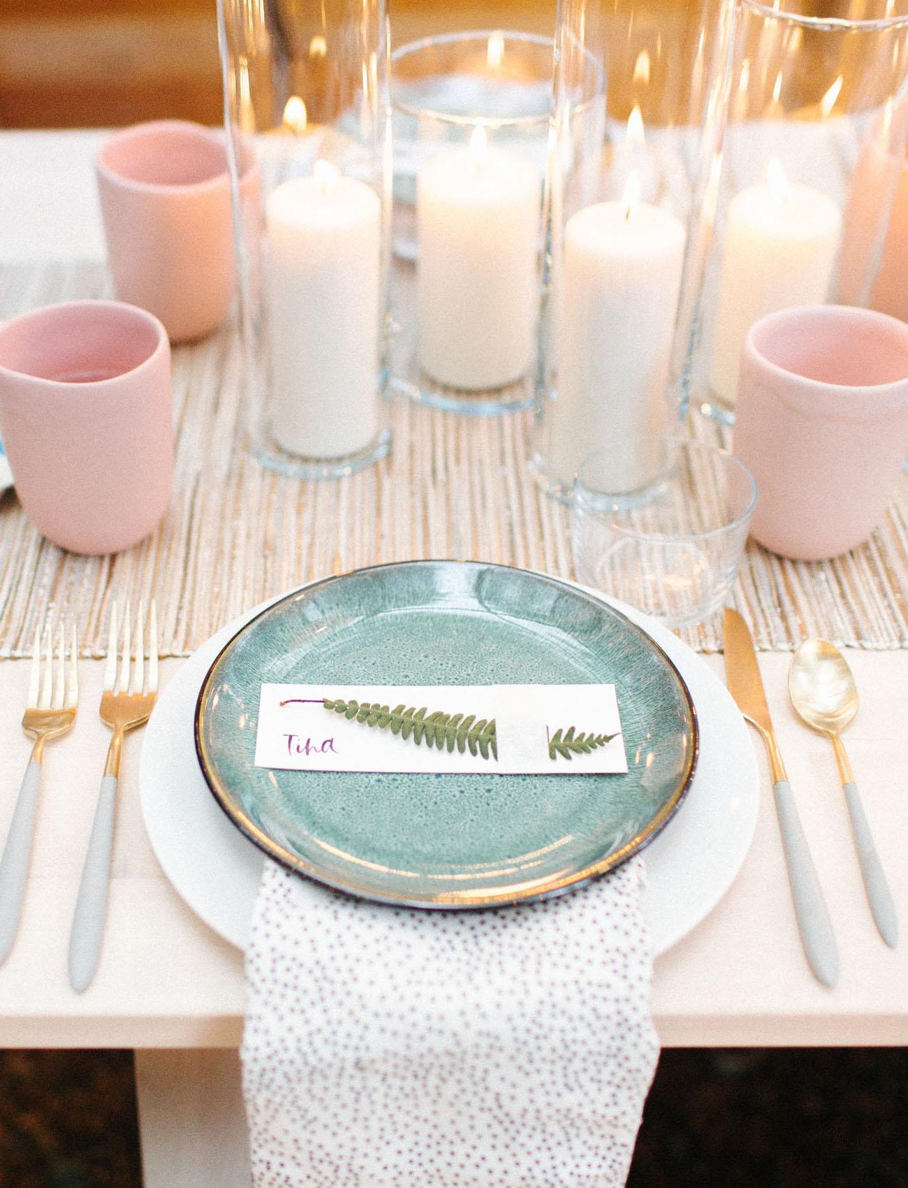 green ceramic dinner setting